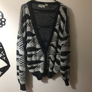 New Wave Vintage Black & Gray Oversized Cardigan